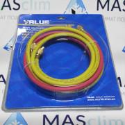 Заправочный шланг Value VRP-U для работы с фреонами (R134а, R22, R12) 1,5 м