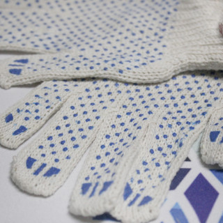 Перчатки ХБ с ПВХ белые