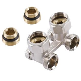 """Двойной узел для нижнего подключения радиатора угловой для 2-х трубных систем 1/2""""х3/4"""" ALTSTREAM"""